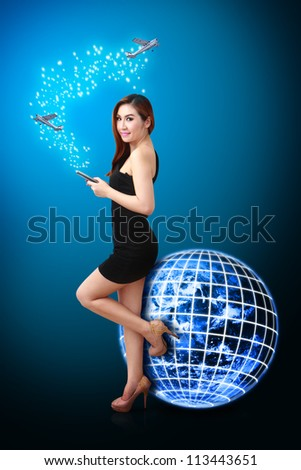 Smile lady and flight plan of the world : Elements of this image furnished by NASA - stock photo