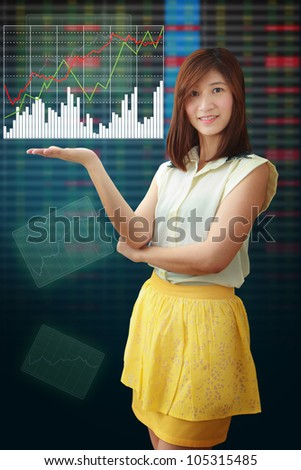 Smile lady and graph report background