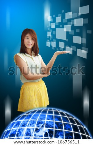 Smile lady hold windows icon from the world : Elements of this image furnished by NASA