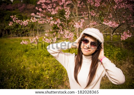 Smile lady with Pink cherry flower