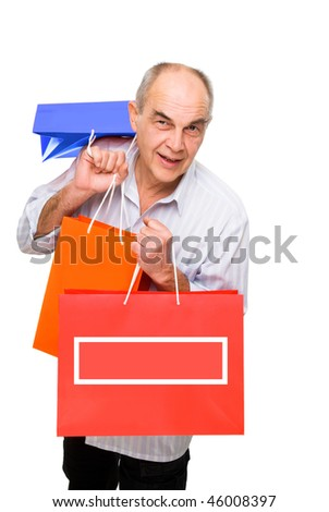 smile man bring lot of color paper bags isolated on white