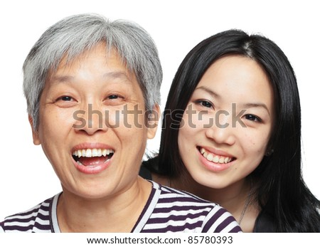 smile mother and daughter - stock photo