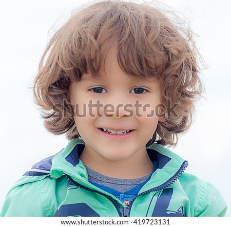 Smile of a little kid - stock photo