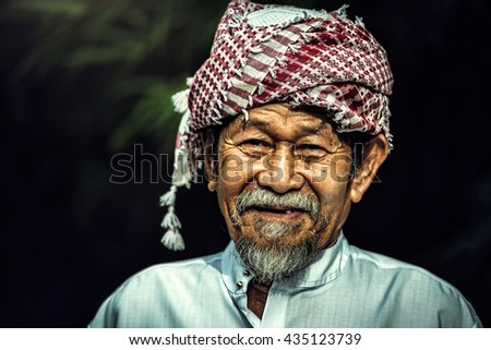 Smile of Old man muslim asian