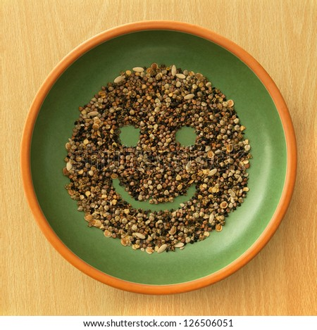Smile & Smiley! Variety of Seed in Bowl. Health & Healthy Living! - stock photo