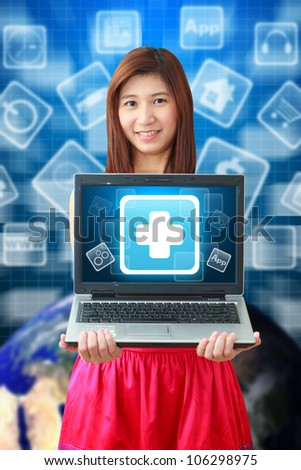 Smile woman and first aid icon on notebook computer : Elements of this image furnished by NASA - stock photo
