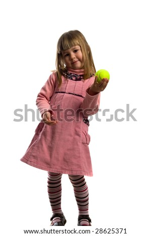 smile young girl with tennis ball