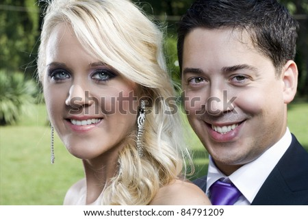 smiles and happiness of man and woman, portraits with the face in close-up and background blur
