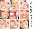 Smiles ans teeth. Faces of smiling people. Teeth care. Smile - stock photo