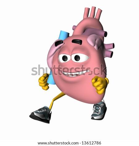 Smiley Aorta - Exercise Your Heart Smiley heart jogging - stock photo