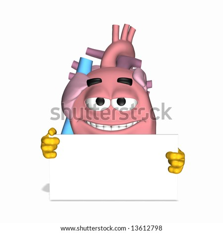 Smiley Aorta - Sign 1 Smiley heart displaying the thumbs up sign. - stock photo