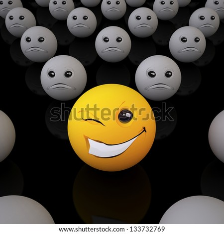 Smiley Ball/ The Three-dimensional Smiley Ball in Optimistic Mood in an Environment of Pessimists (On Black Background) - stock photo