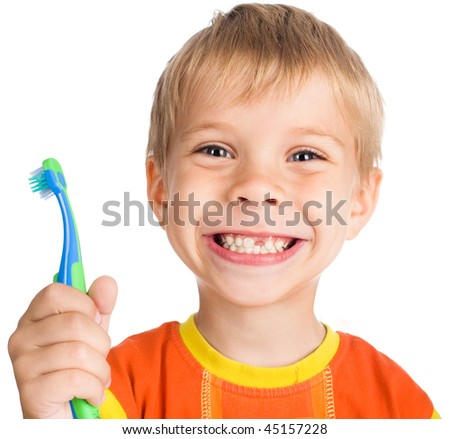 smiley boy without one teeth with toothbrush isolated on white background - stock photo