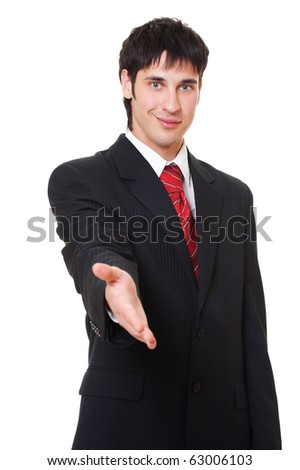 smiley businessman is going to shake your hand. isolated on white background - stock photo