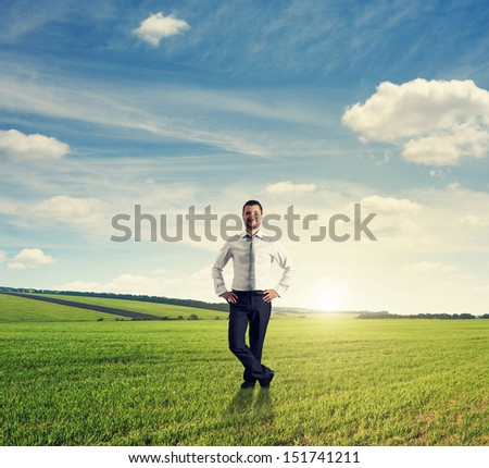 smiley businessman standing on green field - stock photo