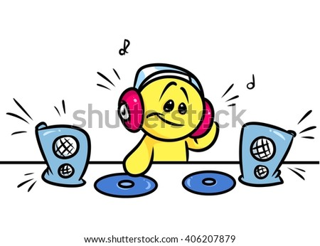 Smiley character DJ music cartoon illustration