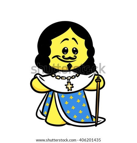 Smiley character king France Louis 13 cartoon illustration  image
