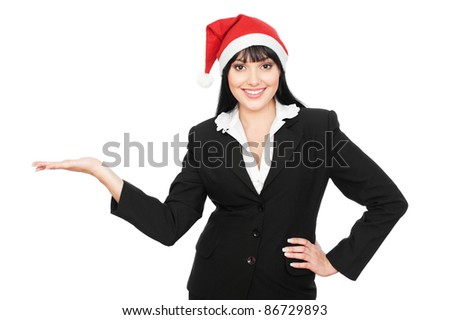 smiley christmas businesswoman holding something on his palm. isolated on white background