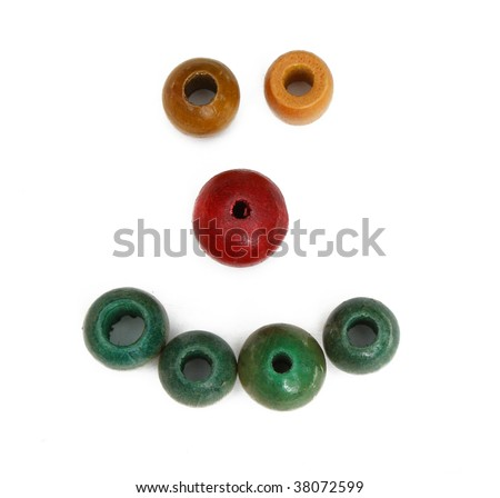 Smiley face made out of beads - stock photo