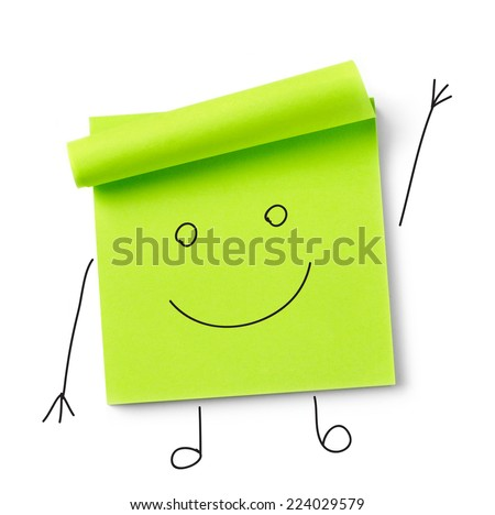 Smiley face on adhesive note Adhesive note on white background - stock photo