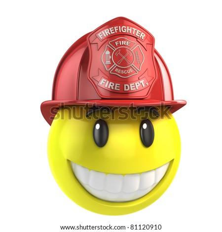 smiley fireman - stock photo