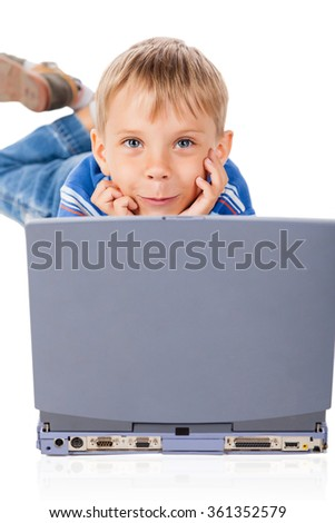 Smiley Five Years Old Boy with Laptop Isolated on White - stock photo