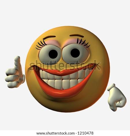 Smiley Girl - Thumbs up - stock photo