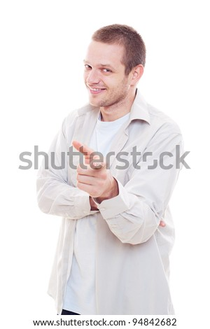 smiley guy pointing his finger. isolated on white background