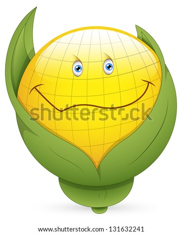 Smiley Illustration - Corn Face