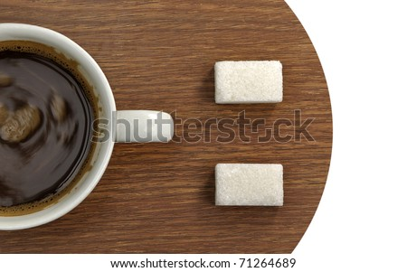 Smiley metaphor with cup of coffee and sugar cubes - stock photo