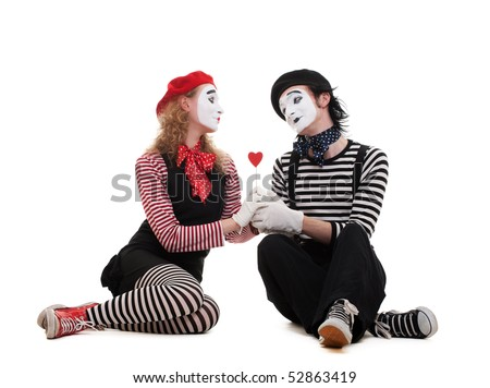 smiley mimes in love. isolated on white background - stock photo