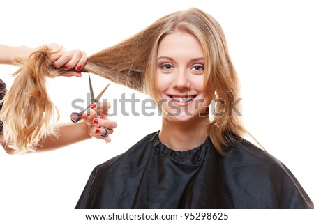 smiley model in hairdressing salon. isolated on white background - stock photo