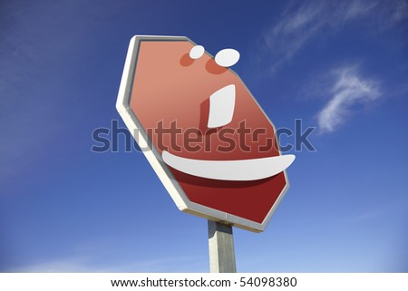 Smiley road sign - stock photo