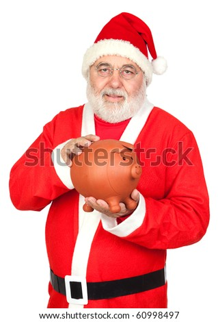 Smiley Santa Claus with piggy-bank isolated on white background