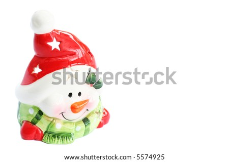 Smiley Snowman Ornament with Red Santa Hat