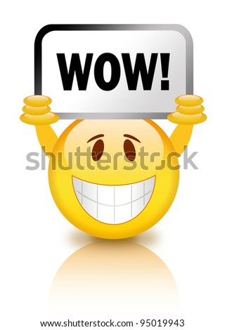 Smiley with wow sign