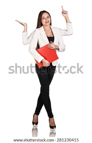 smiley woman with four hands holding red folder - stock photo