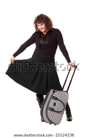 smiley woman with luggage against white background
