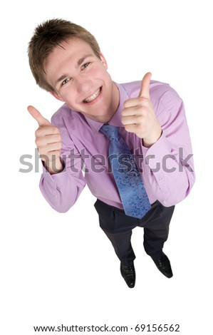 Smiley young business man guy in with thumbs up hands. Wide angle - stock photo