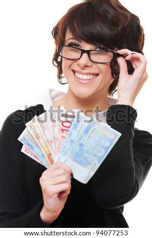 smiley young businesswoman holding euro in her hands. isolated on white background