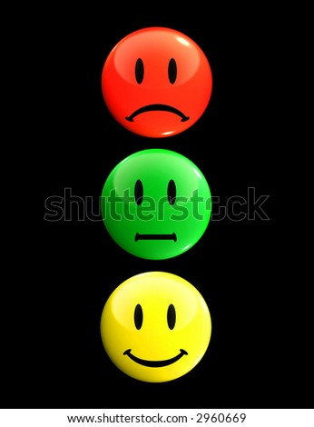 Smileys that form a traffic light