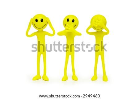 Smilies that speak,  hear and see no evil - stock photo