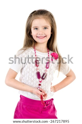 Smiling adorable little girl in skirt with beads isolated on a white - stock photo