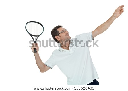 smiling adult tennis player with racket in sportswear  isolated on white