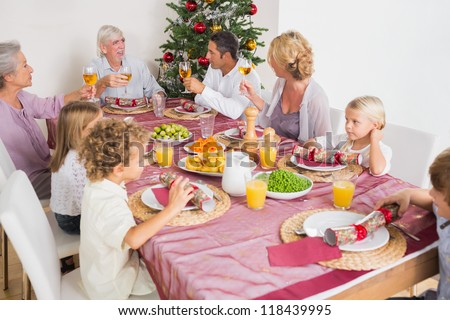 Smiling adults raising their glasses at christmas dinner - stock photo