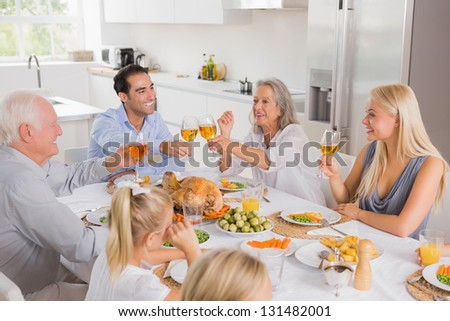 Smiling adults raising their glasses at thanksgiving dinner