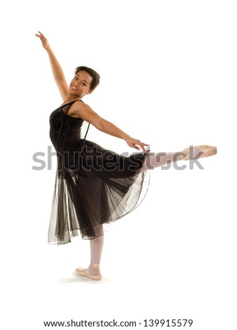 Smiling African American Ballerina in Arabesque Position
