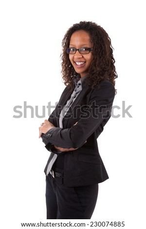 Smiling african american business woman, Isolated over white background