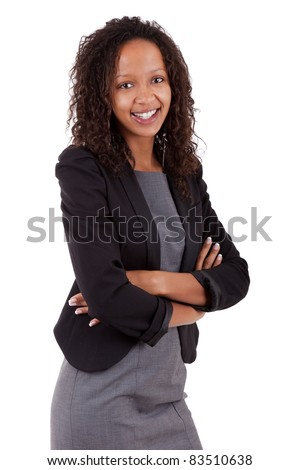 Smiling african american business woman with folded arms Isolated over white background - stock photo
