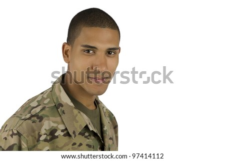 Smiling African American Military Man - stock photo